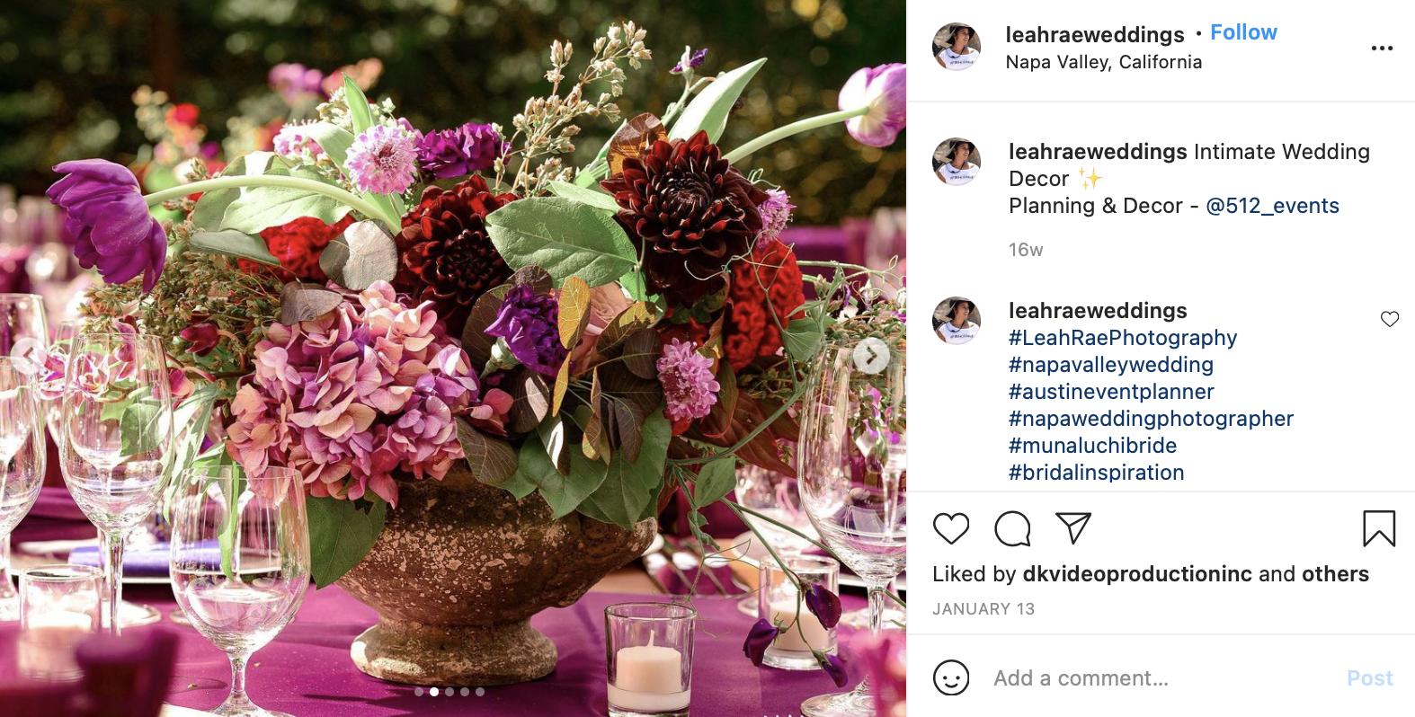 purple and burgundy wedding florals