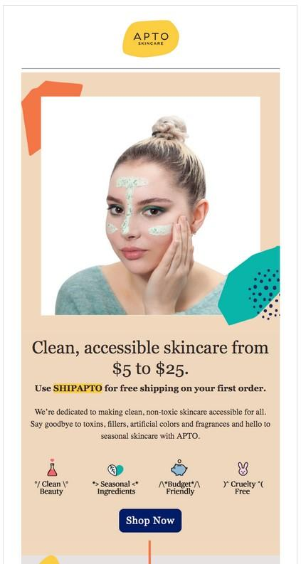 Skincare brand, APTO, uses its industry differentiators as their message in this email copy.