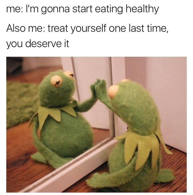 healthy eating kermit the frog meme