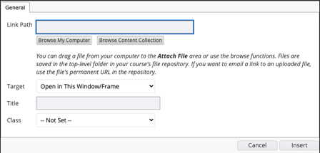 Link options menu screenshot