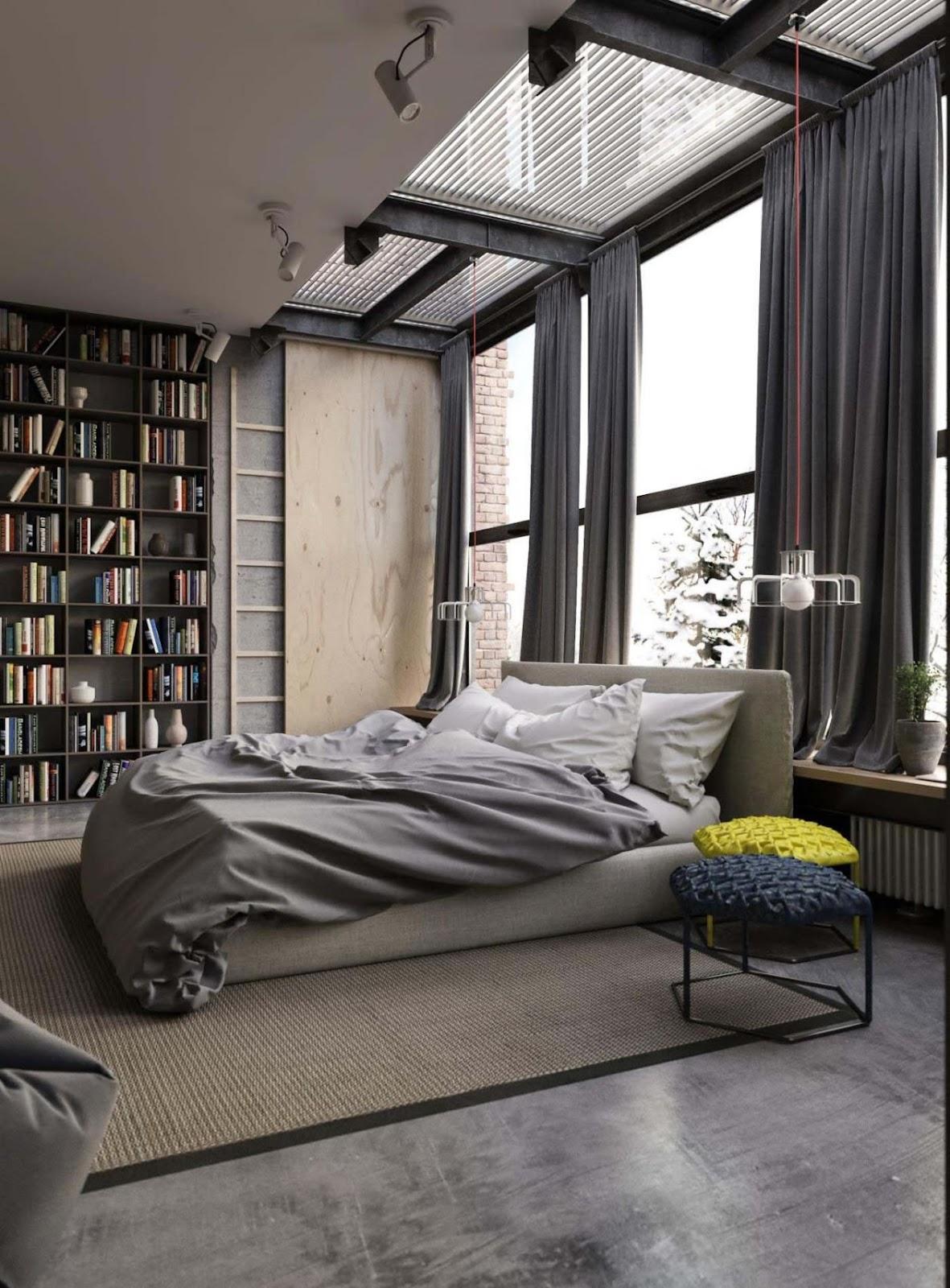 Inspirasi desain kamar tidur kontemporer dengan sentuhan gaya industrial - source: pinterest.com