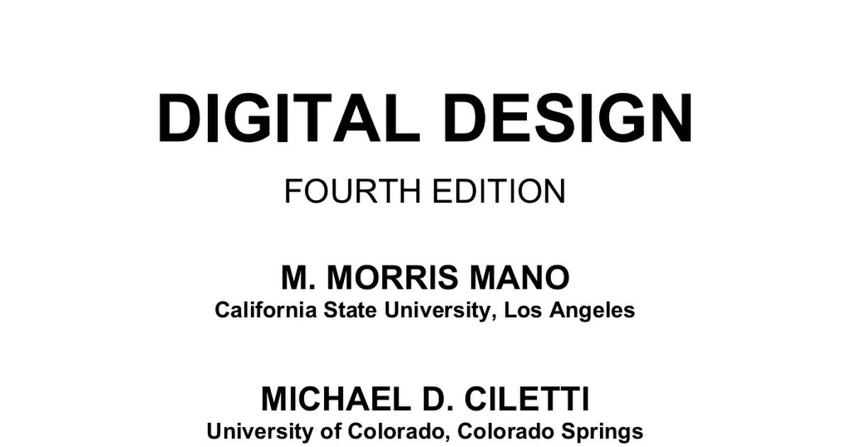Digital design (5th edition).