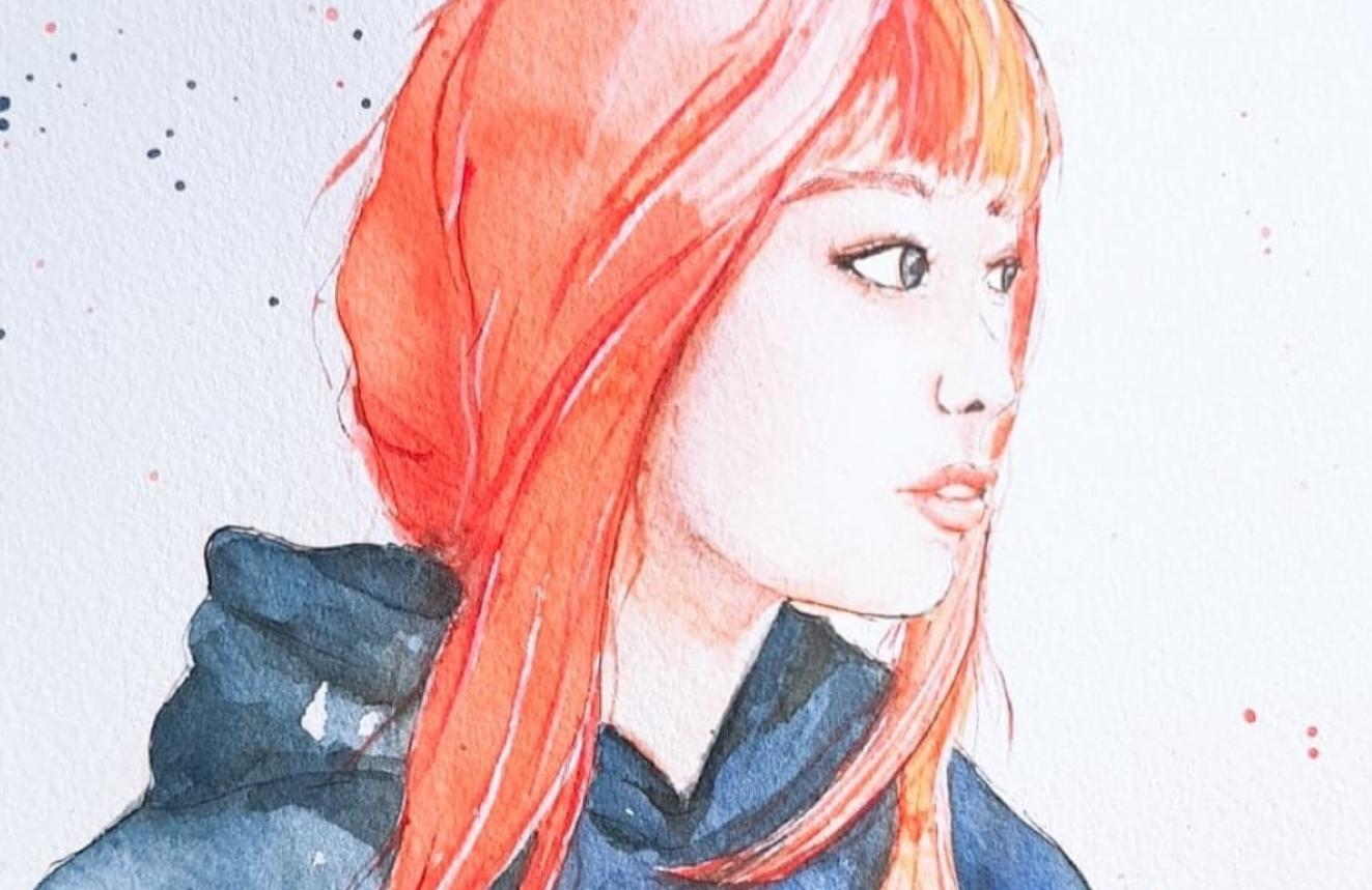 watercolor red head