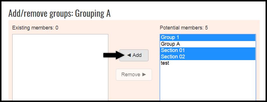Add/remove groups menu