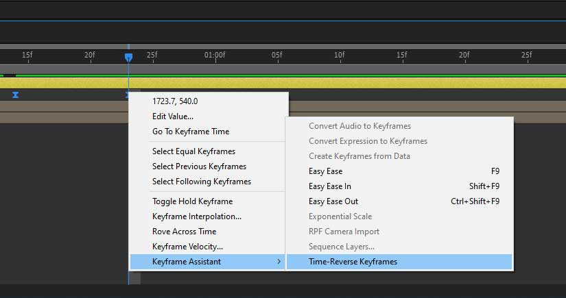 Time-Reverse Keyframes in After Effects
