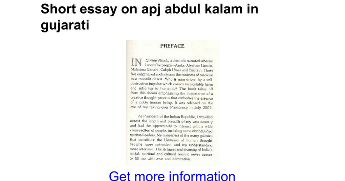 Short Essay On Dr A.P.J. Abdul Kalam : Speech On Abdul Kalam