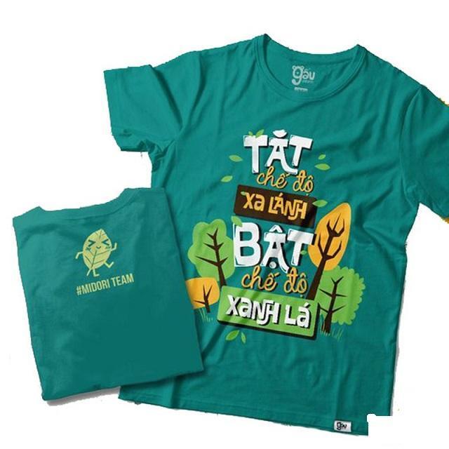 Mẫu áo đồng phục team nhóm Building màu xanh với slogan phong cách