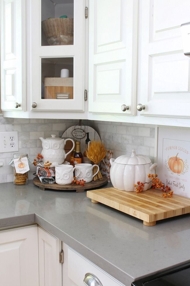 Fall decor on kitchen counter,