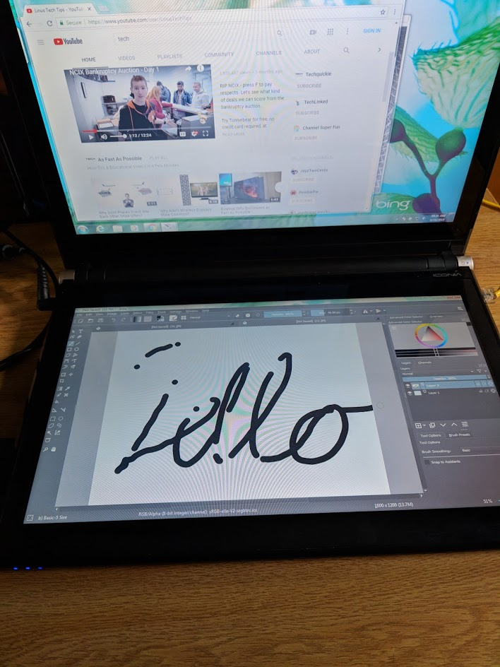 "Chrome is open, but the video was paused the entire time I was drawing the ""Hello"""
