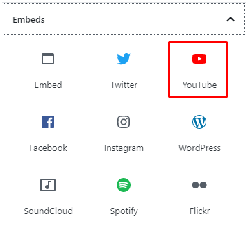 Blok embed video YouTube di editor Gutenberg WordPress