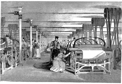 A woman worker at a power loom with a male supervisor looming over her.