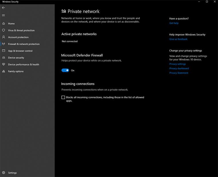 tela para desligar firewall do windows, uma das soluções para o erro servidor dns não está respondendo