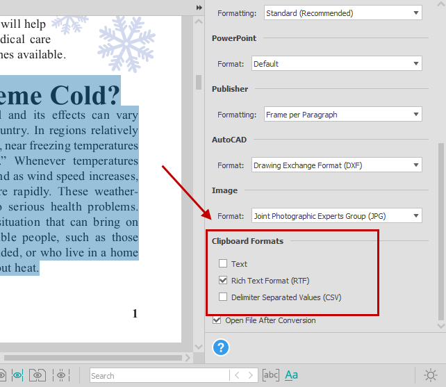 Clipboard formats in Able2Extract Pro for copying PDF text