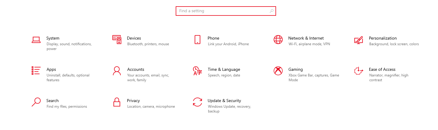 Update & Security option