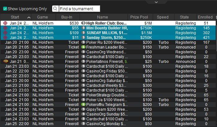 Расписание фрироллов в покер-руме