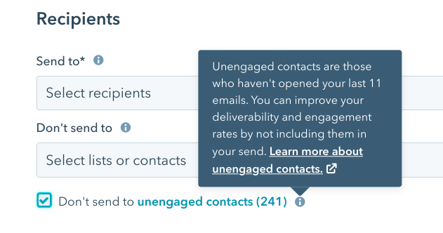 Send to unengaged recipients in HubSpot's email tool