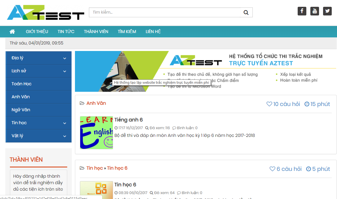 sử dụng công cụ test online