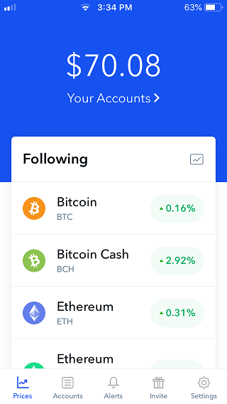 Coinbase your accounts screen.