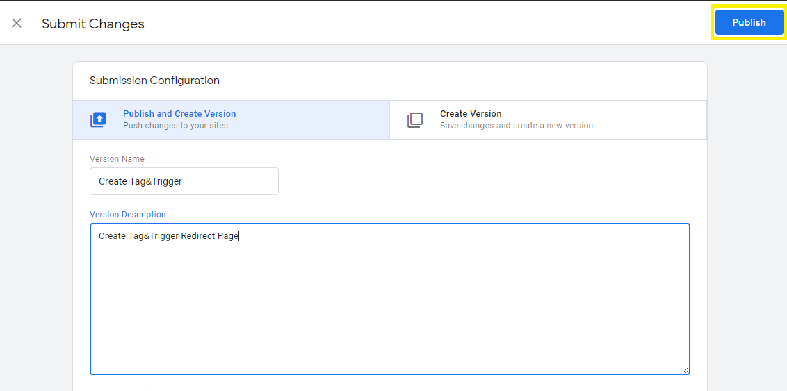 Redirect Page Website Dengan Google Tag Manager - Pilih Publish