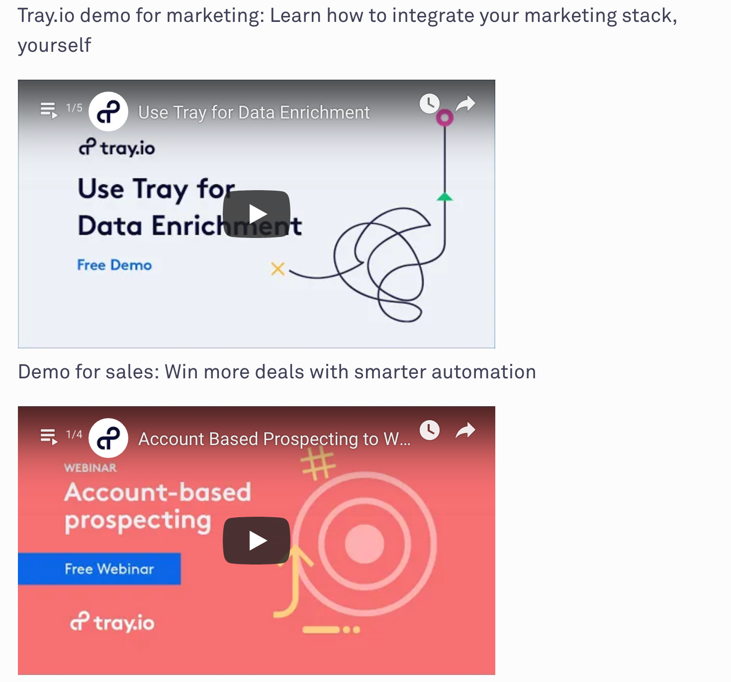 tray's walkthrough videos are part of their sales funnel.