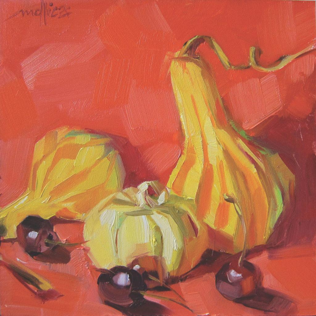Harry, Mo & Quăn bởi Patti Mollica, dầu trên bảng |  Chọn phối màu;  ví dụ về sự kết hợp màu tương tự