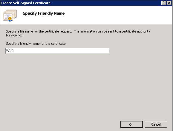 Create a self-signed certificate - Specify Friendly Name