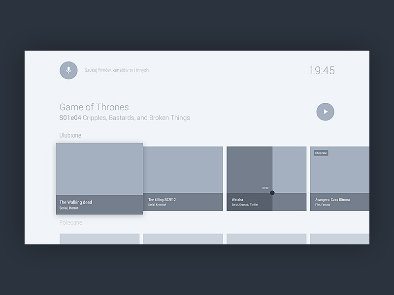 A medium fidelity wireframe example of Andrew Mialszygrosz's Android TV video streaming experience.