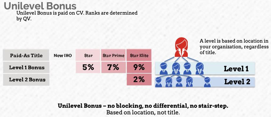Example of Unilevel Bonus structure