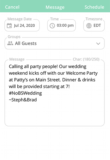 """Calling all party people! Our wedding weekend kicks off with our Welcome Party at Patty's on Main Street. Dinner & drinks will be provided starting at 7!"""