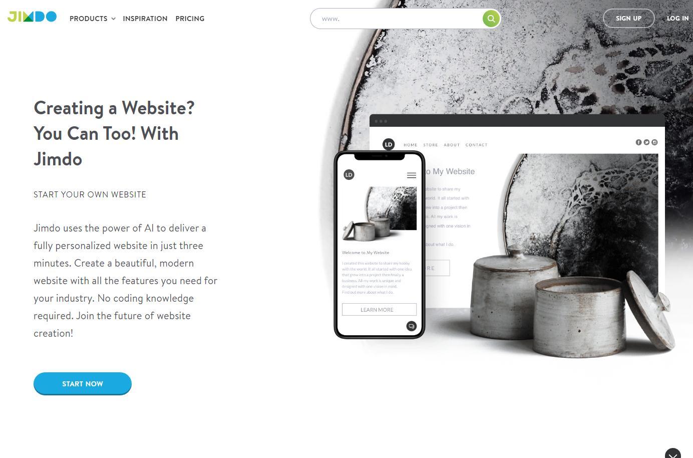 Jimdo - Универсальный конструктор для создания блогов, портфолио, корпоративного сайта и даже лендингов