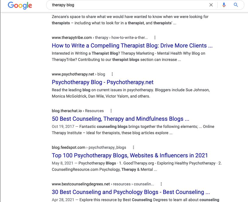 Therapists blogs ranking on Google.