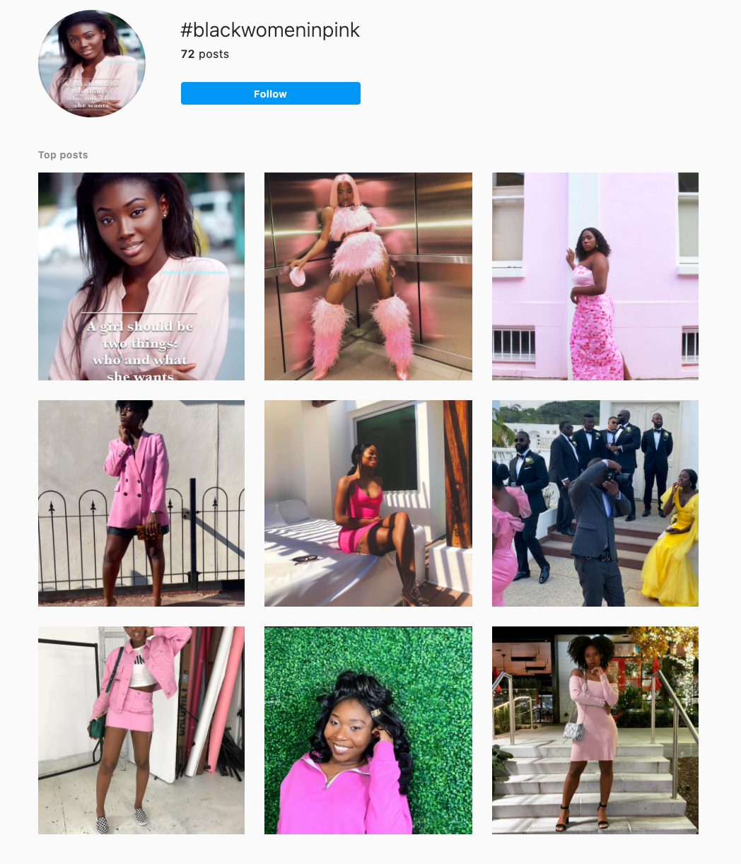 One Color Instagram Theme Example