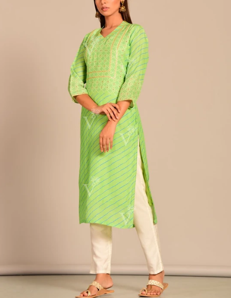 Light Green Leheriya Printed Kurti For Women