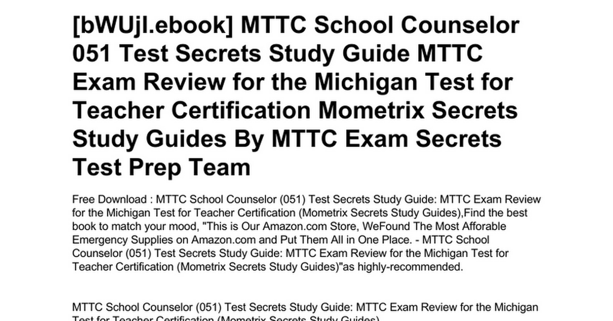 Mttc School Counselor 051 Test Secrets Study Guide Mttc Exam Review