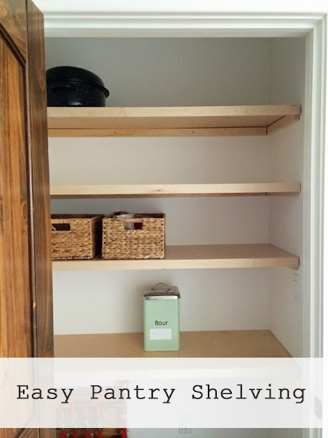 We used up 2/3 of a sheet of prefinished plywood, and 2 - 1x2x8' boards and  screws and drywall anchors - this pantry shelving only cost about $60 to  make!