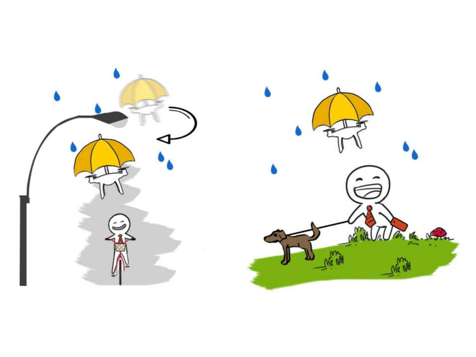 Two illustrations of the umbrella drone. In one, it's flying above a person riding a bike. In the other, it's above someone walking their dog.