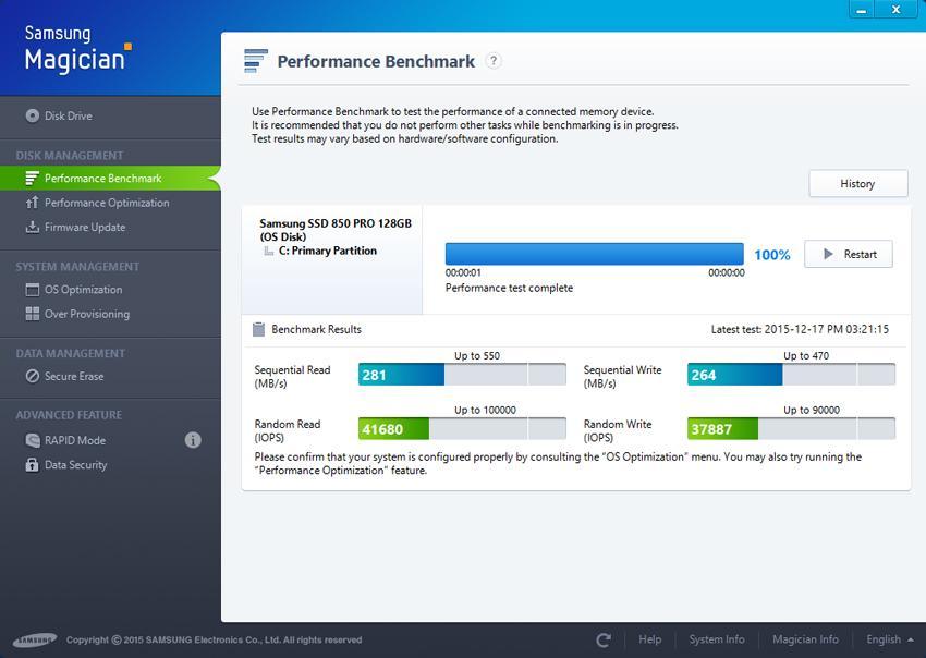 Kiểm tra hiệu suất ổ đĩa đang sử dụng với   Performance Benchmark