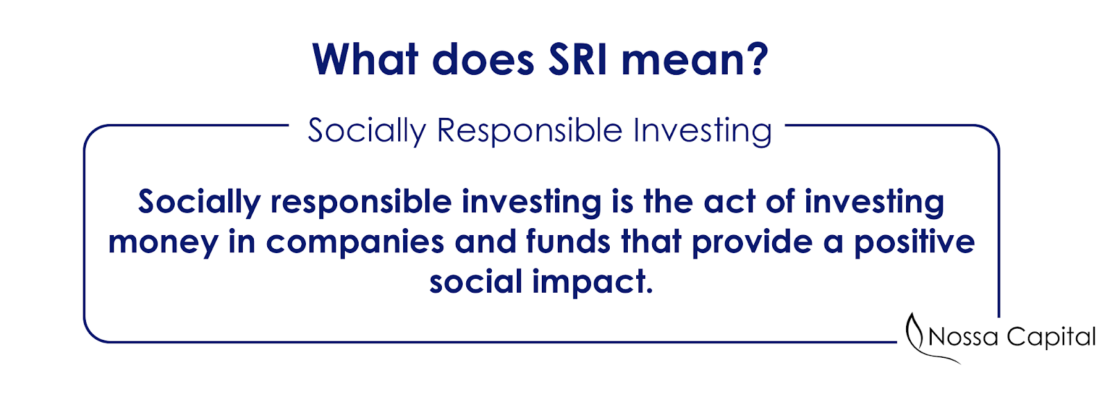 What does SRI mean, socially responsible investment
