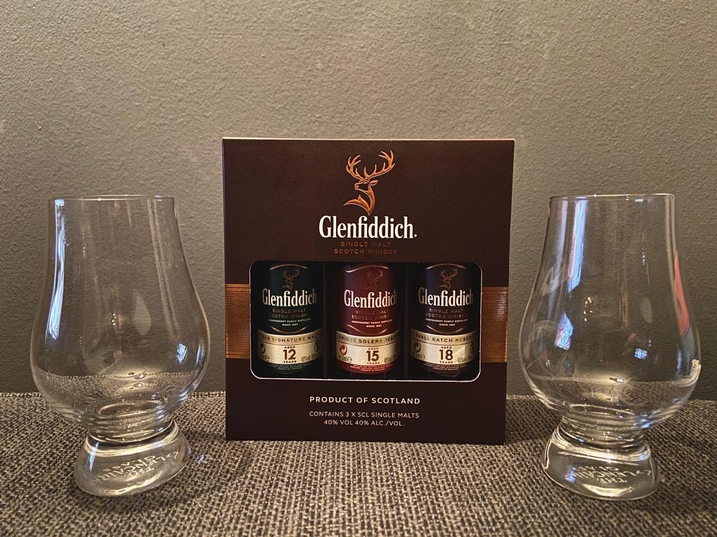 Glencairn glasses and Gelnfiddich Tasting set
