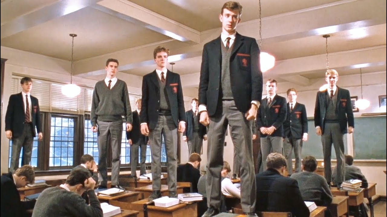 """12. The Dead Poets Society (1989) """"The Ending Scene"""": This ending scene from the dead poet's society will make you laugh, cry and smile at the same time."""