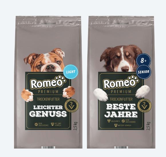 Romeo Hundefutter von Aldi Premium Sorten Leichter Genuss und Beste Jahre