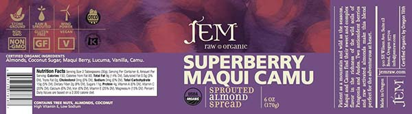 Label, JEM Raw Organic SUPERBERRY MAQUI CAMU Sprouted Almond Spread, 6 oz.