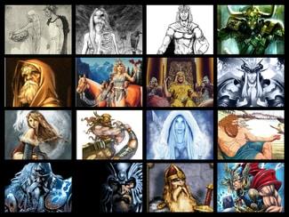 Ilustración con los principales dioses nórdicos que aparecen en la obra de Gaiman