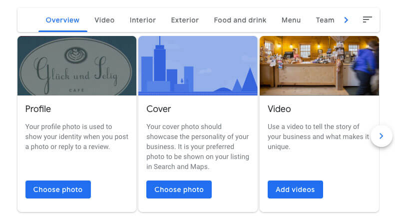 google my business for restaurants images