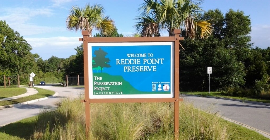 Reddie Point Preserve sign in Jacksonville, FL