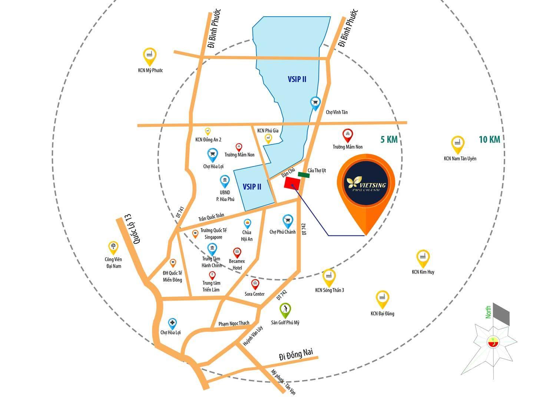 Dự án vietsing phú chánh bình dương với lợi thế ngay cổng khu công nghiệp VSIP 2