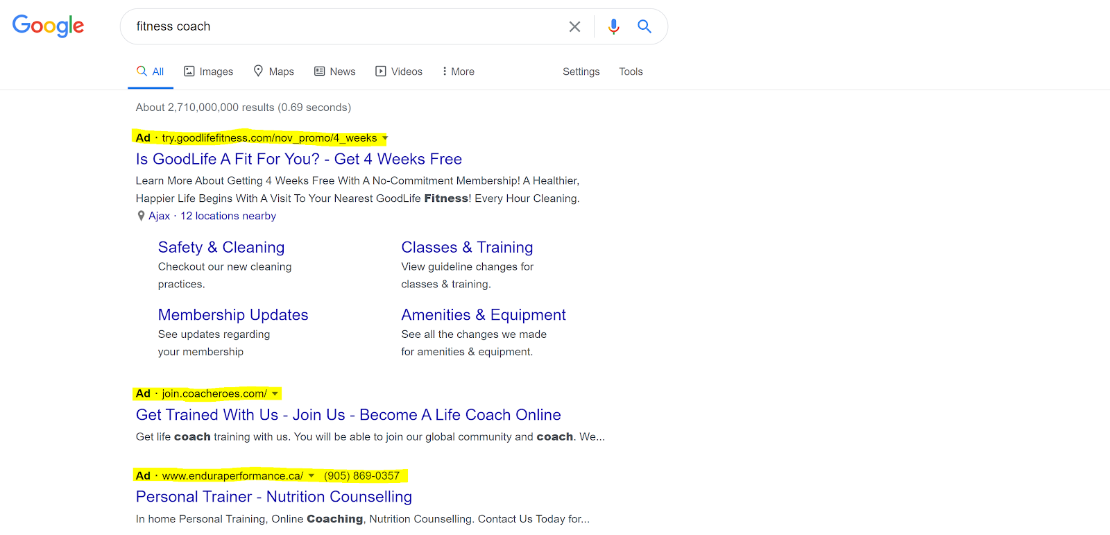 "Results for when the keyword ""fitness coach"" is searched."