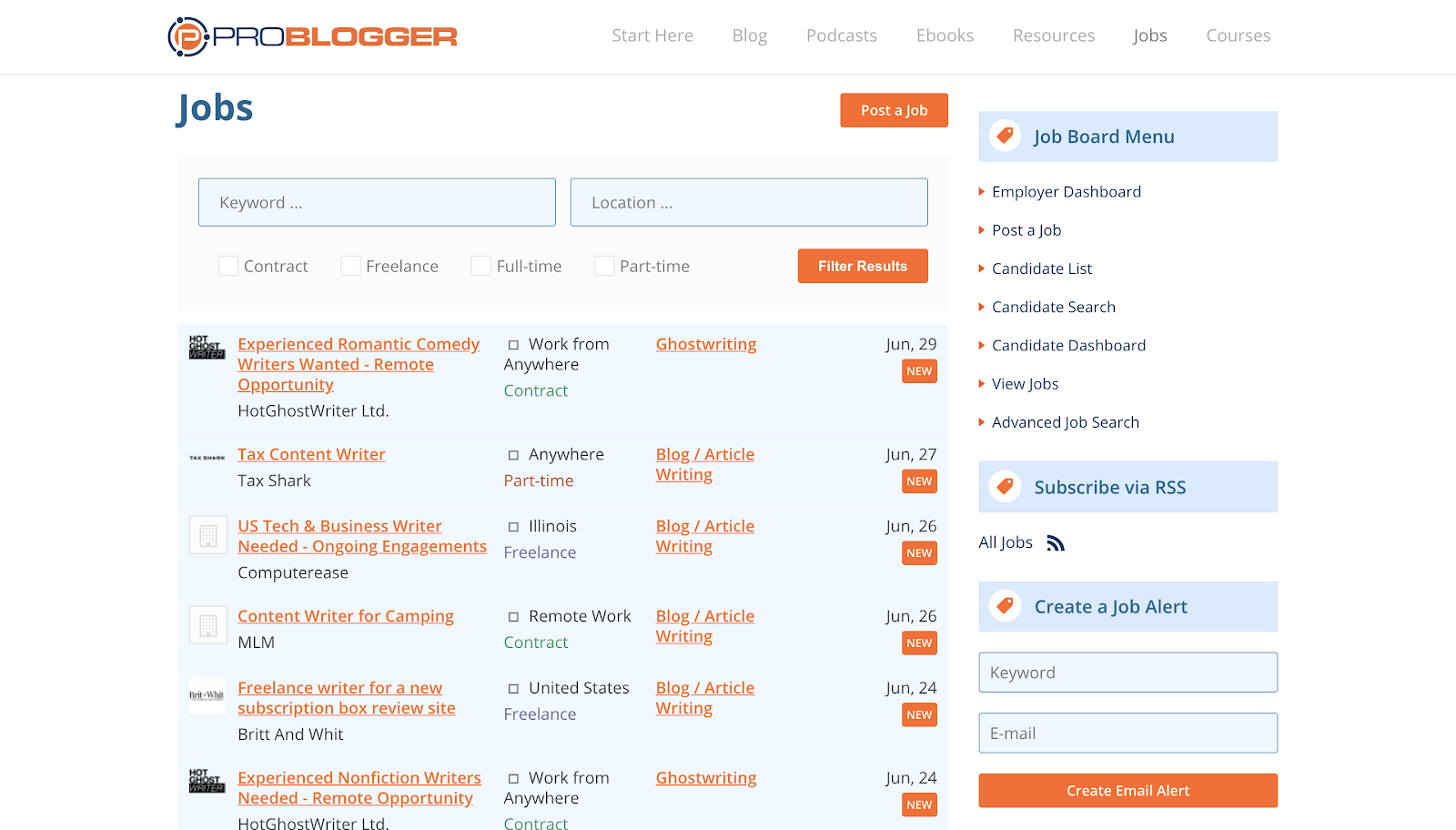 Find Freelance Writing Jobs on Problogger