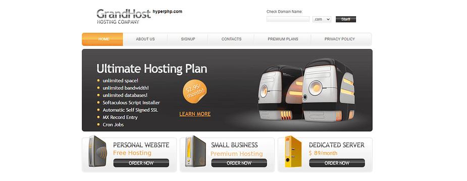Dịch vụ lưu trữ web miễn phí HyperPHP