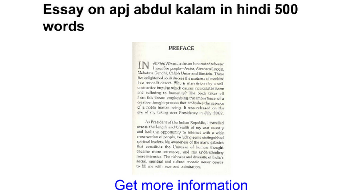 essay on apj abdul kalam in hindi words google docs